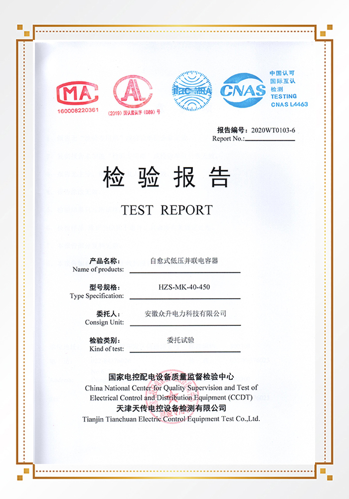 """<span style=""""font-size:14px;""""><strong>自愈式低壓并聯電容器檢驗報告</strong></span>"""